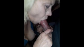 Old Cougar takes on my young Big Dick! Swallows big load!