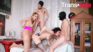 Trans Bella - Bisexual Group Orgy For Kinky Tranny With Hardcore Anal Sex