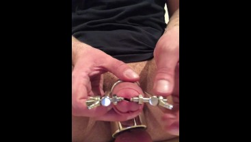 trying out my NEW TOY ** Stainless Steel URETHRAL STRETCHER **