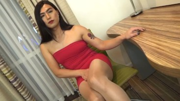 Tgirl Alina Wang teasing in little red dress and nude crotchless pantyhose