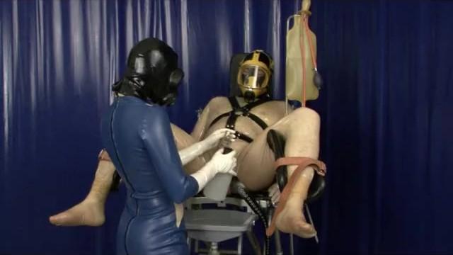 Femdom free masked pantyhose - Heavy rubber latex gas mask breath play control femdom clinic bondage slave