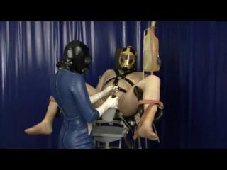 Latex gas mask breath play control femdom clinic...