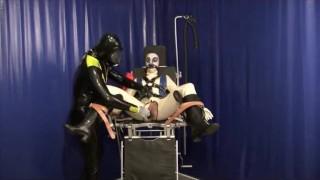 Rubber Master With Bondage Latex Slave Girl Breath Control Dildo Mouthgag