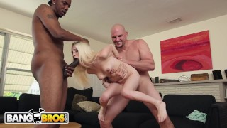 BANGBROS - Petite White Girl Piper Perri Getting Spit Roasted By Two Studs