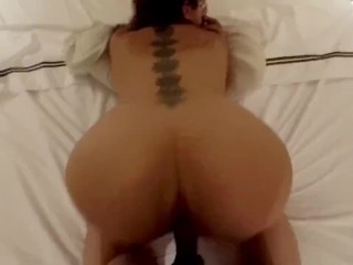 Horny redhead with tattoos and ass is fucked...