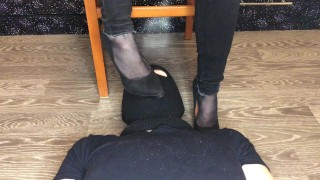 Screen Capture of Video Titled: kelly_feet mistress dominates in black nylon socks and foot fetish