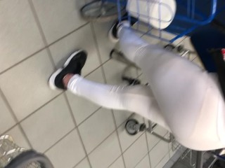 Wife in see thru spandex and shirt doing laundry