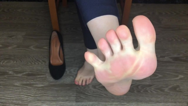 Secretary stocking foot job - Kelly_feet office secretary in black nylon stockings after work shoes slave