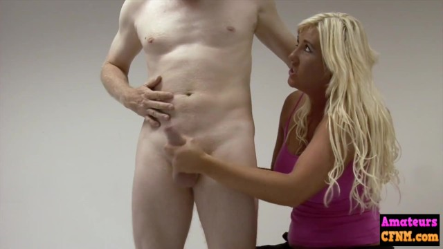 Cfnm mother freind handjob Femdom blonde gives reach around to cock