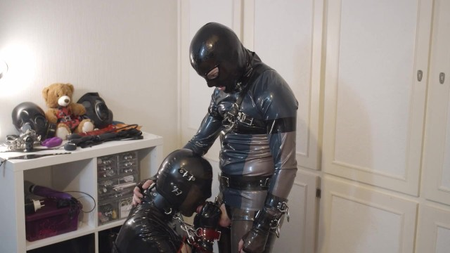 Rubber plastic fetish - Miss maskerade rubber dominated gagged and fucked - safp001