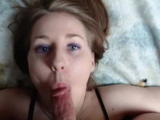 Live gagging blowjob with facial from real...