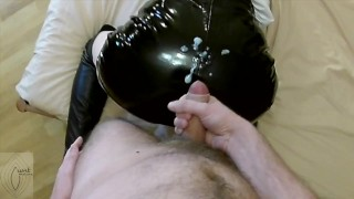 I jerk off to leather skirt and make her to eat cum (POV)