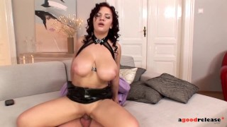 Breast dominatrix Lana Ivans takes control of her slave's cock and balls
