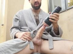 Morning coffee fucking Fleshlight in bathrobe thick cock huge cumshot