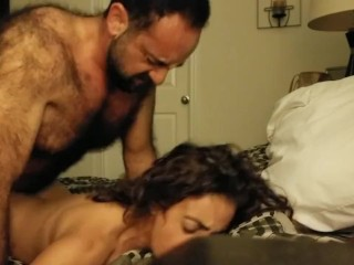 Hairy daddy bear fucks pretty soccer mom good
