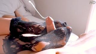 Nylon Socks Footjob - Watch that Cumshot!