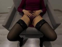 Hot Russian MILF in stockings sucks, fucks, cums and cries