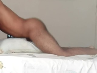 Amateur moaning and cumming while fucking pillow