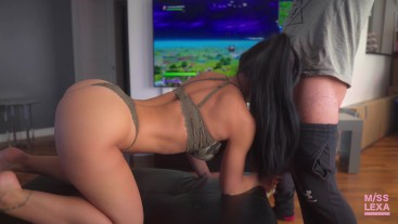 HOT Teen gets fucked while playing Fortnite - 4K