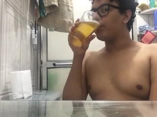 Chubby beginner slut pig drinking own licking feet...