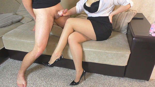 Pantyhose high heel shoe fetish - Teen school teacher femdom handjob her student after school on high heels