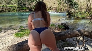 Girl with huge ass fucks in the river.