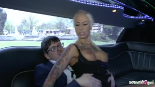 German Teen Hooker Fuck old Ugly Rich Guy in Limo for Cash