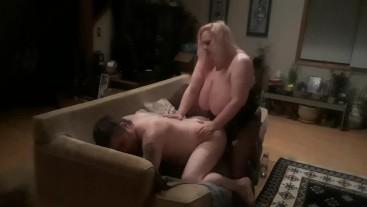 Big tit milf fucks my ass good giving me a hard pegging