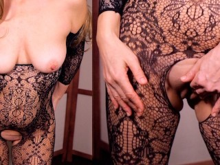In hot fucking dress plays with pussy...