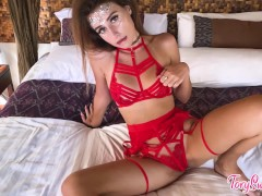 Beautiful Girl In Crimson Lingerie Blowing And Riding On Dildo
