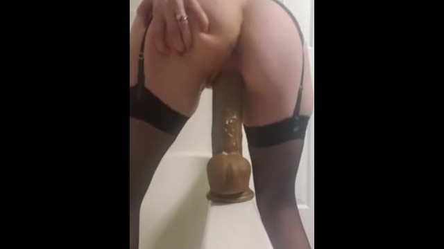 Novelty rear view nude - Sexy wife in lingerie squirts on her 12 bbc dildo rear view pt 2