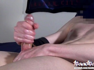 Stroking With Both Hands Makes This Huge Oiled Up Cock Cum Twice