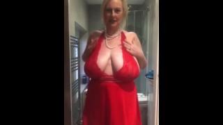 Annabel's red satin halter neck negligee shower play