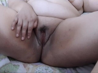 Eating cum, toying pussy with explosive orgasm. Loud moans.