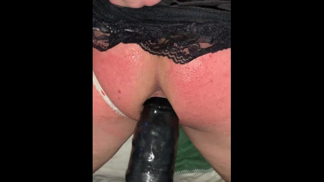 Dildo up the penis - Tied up tiny penis sissy humiliated, spanked and fucked by big black dildo