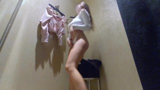 Hidden camera fitting room - girl showed pussy and big Breasts
