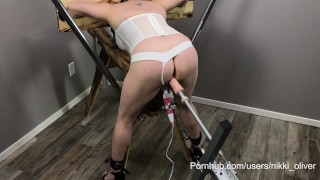BDSM Housewife Restrained – Punished – Begs to Cum FUCK MACHINE SQUIRTING