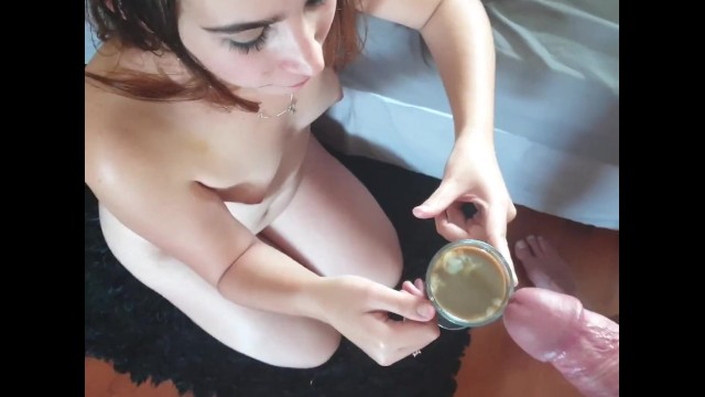 Vintage pyrex coffee Teen drinks coffee with cum cum cream for my coffee