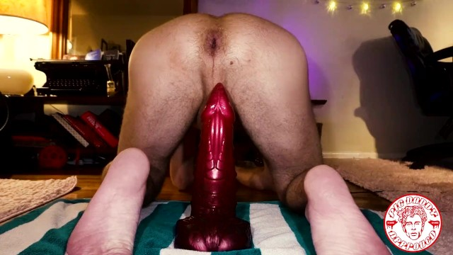 Gay dragon Riding an xl bad dragon kink special edition dildo huge hole anal