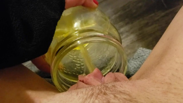Nostrademus penis in a jar - Peeing in a jar in my bedroom
