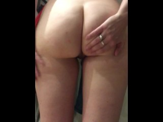 Milf spreads and spanks her...