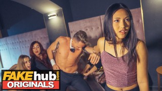 LADIES CLUB Asian Teen Swallows Stripper's Cum in Public Bathroom