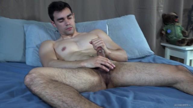 Gay gloryhole pierced - Activeduty - amateur hunk strokes his thick pierced cock