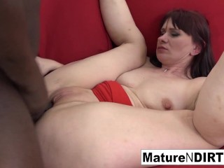 Hot brunette mature is craving an interracial creampie...