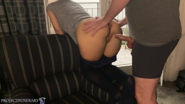relaxed holiday fuck at hotel window in pantyhose ends with creampie