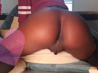 Slim ebony with bonnet worships her little booty...