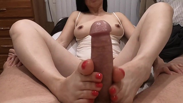 Shop womans sexy cheap summer clothes - Footjob - pretty asian jacks him with her sexy feet - he cums on her toes