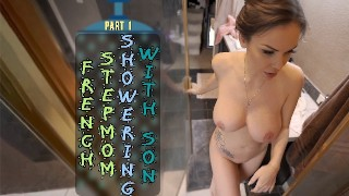 Screen Capture of Video Titled: FRENCH STEPMOM SHOWERING WITH SON - PART 1 - ImMeganLive - WCA Productions