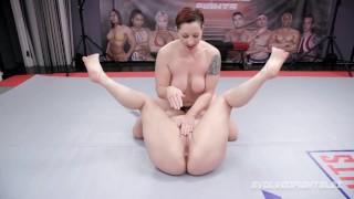 Mistress Kara lesbian wrestling vs Johnny Starlight bangs her with strapon