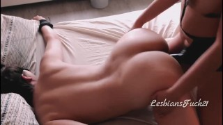 Sex is Blind: Innocent Girl Blind-Folded and Fucked by Lesbian w/Strapon